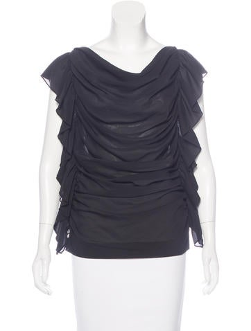 Robert Rodriguez Sleeveless Ruffle-Trimmed Top None