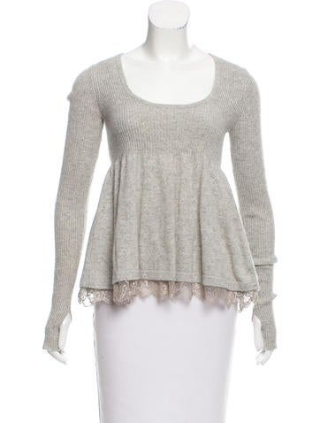 Robert Rodriguez Lace-Trimmed Cashmere Sweater None