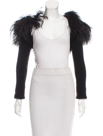 Robert Rodriguez Ostrich Feather-Accented Shrug None