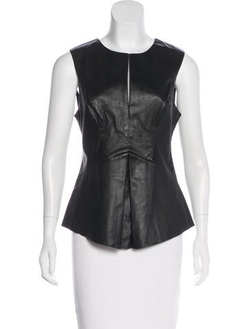 Robert Rodriguez Sleeveless Leather Top None