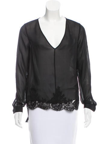 Robert Rodriguez Lace-Trimmed Silk Top None