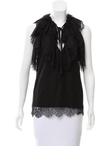 Robert Rodriguez Ruffle-Trimmed Lace Top None