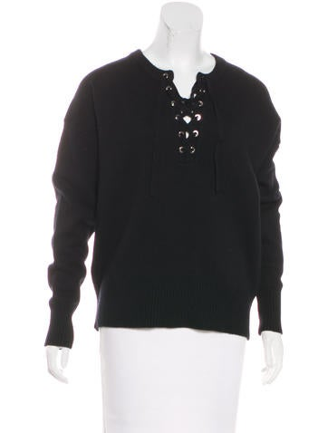 Robert Rodriguez Wool Lace-Up Sweater w/ Tags None