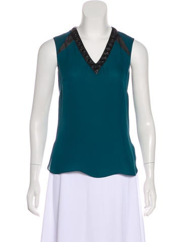 Robert Rodriguez Silk Leather-Accented Top None