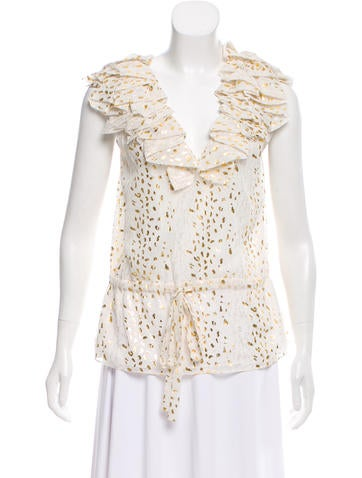 Robert Rodriguez Ruffled Sleeveless Top None