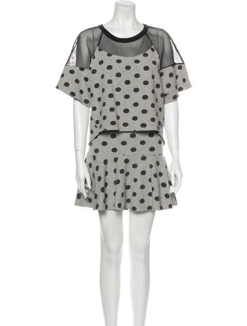 Robert Rodriguez Polka Dot Print Skirt Set Grey