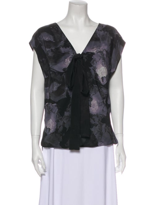 Robert Rodriguez Silk Floral Print Blouse Grey