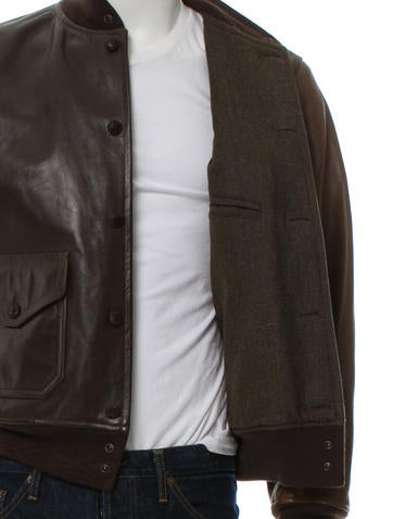 Men's brown and tan RRL & Co leather bomber jacket with rib knit trim