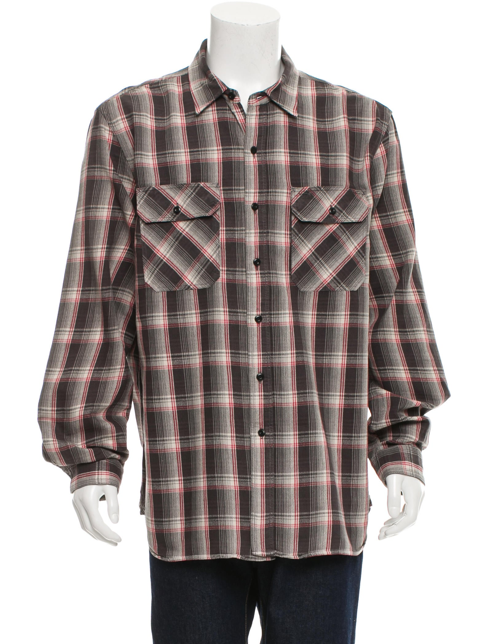 Rrl co plaid button up shirt mens shirts wrrll20319 for Red and white plaid shirt mens