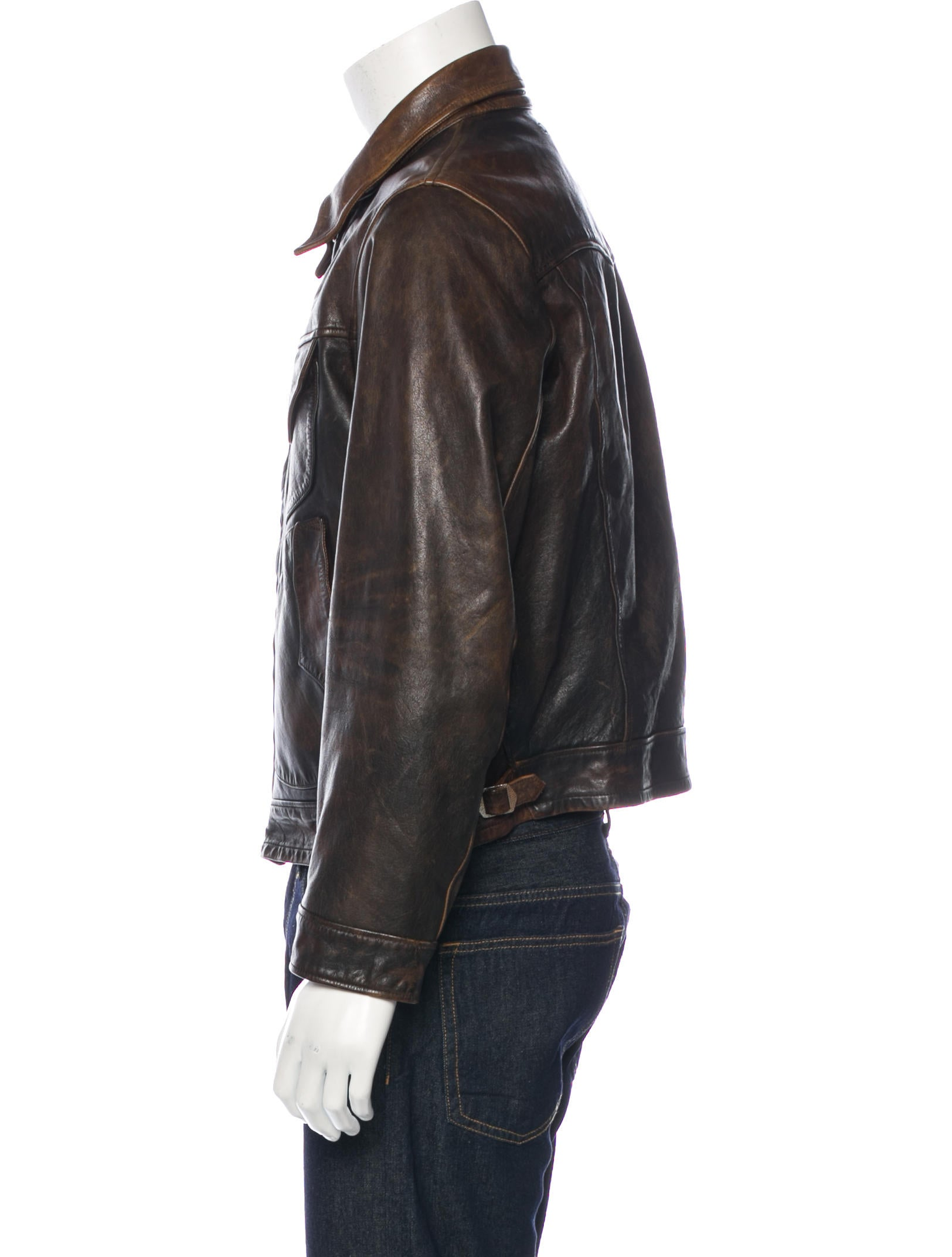 Rrl co distressed leather jacket clothing for Leather jacket and shirt