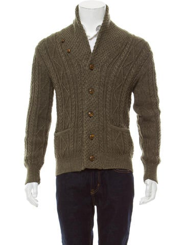 RRL & Co. Wool Cable Knit Cardigan None