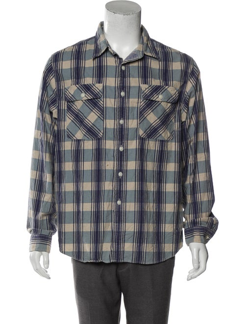 RRL & Co. Checkered Button-Up Shirt blue