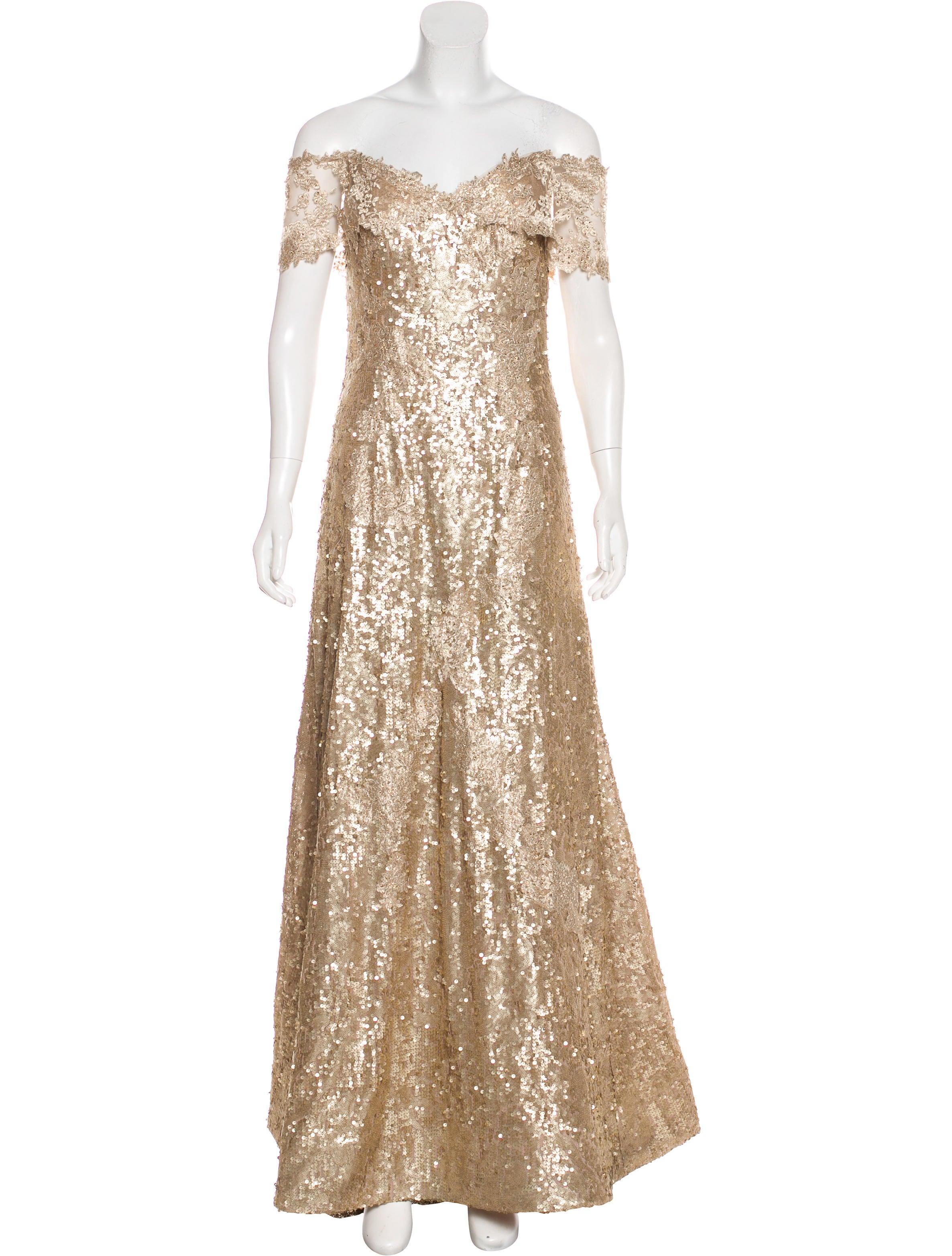 Rene Ruiz Off-The-Shoulder Sequin Gown - Clothing - WRRUZ20024 | The ...