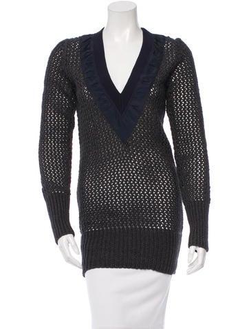 Sacai Crochet V-Neck Sweater None