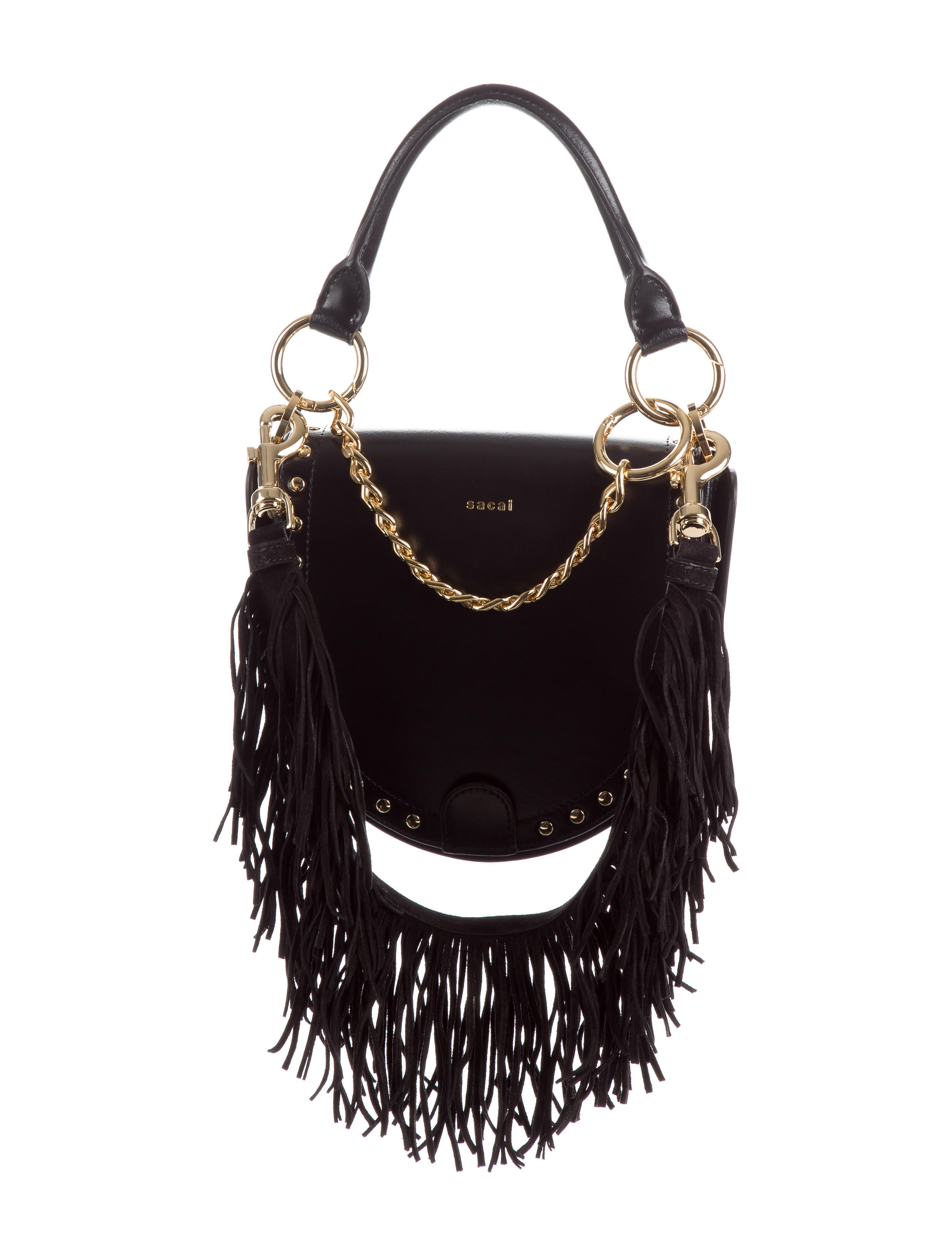 6222b09ca7d7 Sacai Fringe Leather Coin Bag - Handbags - WS121491