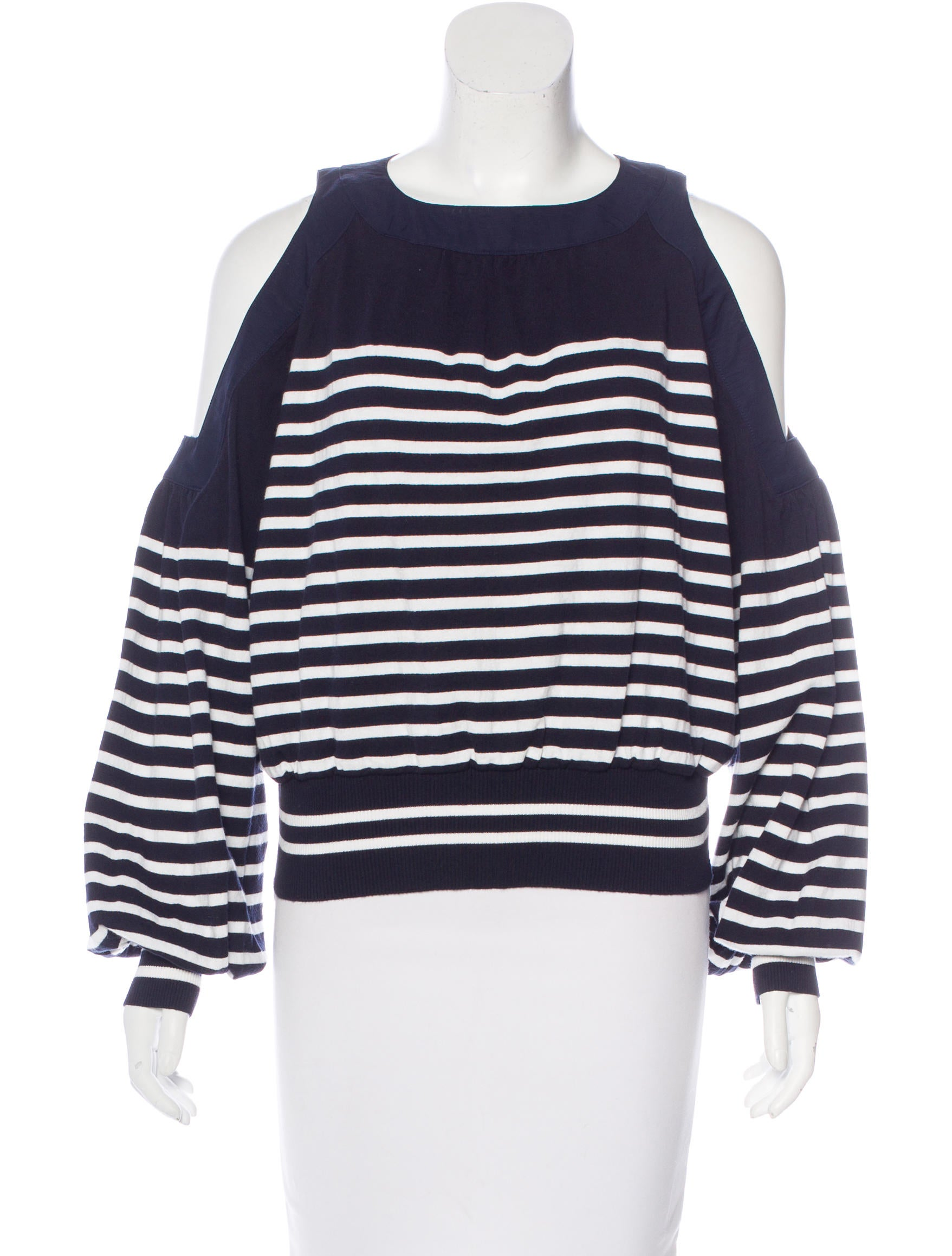0dc9be0423217 Sacai Striped Cold-Shoulder Top w  Tags - Clothing - WS121616