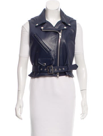 Sacai Leather Motorcycle Vest None