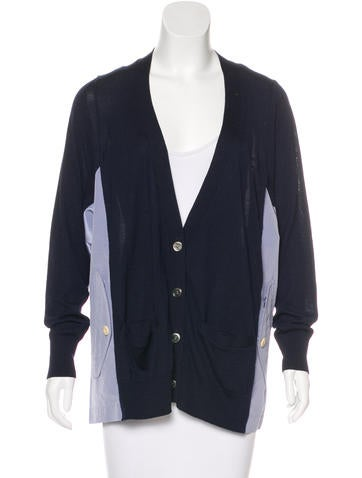 Sacai Woven-Paneled Knit Cardigan None
