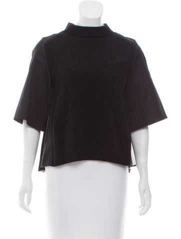 Sacai Silk-Accented Wool Top None