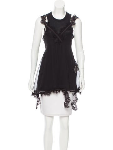 Sacai Sleeveless Lace-Accented Top w/ Tags None