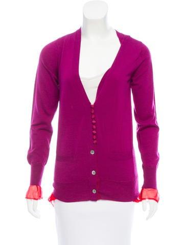 Sacai Silk-Trimmed Wool Cardigan None