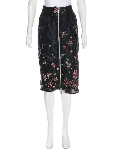 Sacai Embroidered Midi Skirt None