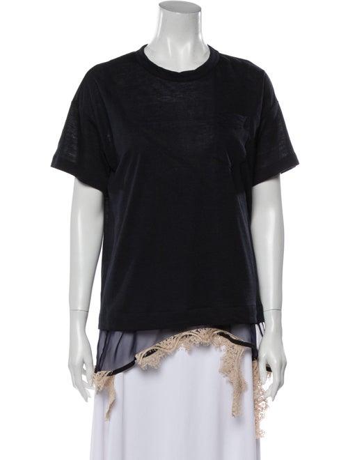 Sacai Linen Crew Neck T-Shirt Blue