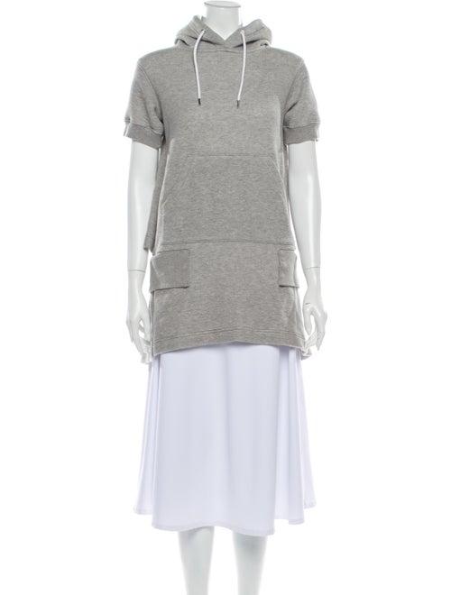 Sacai Mock Neck Short Sleeve Sweatshirt Grey