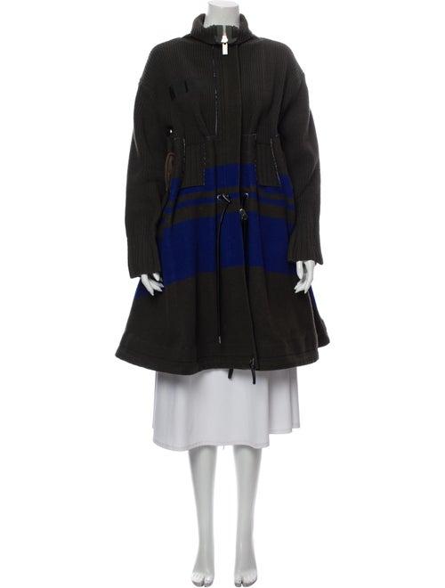 Sacai Wool Striped Coat Wool