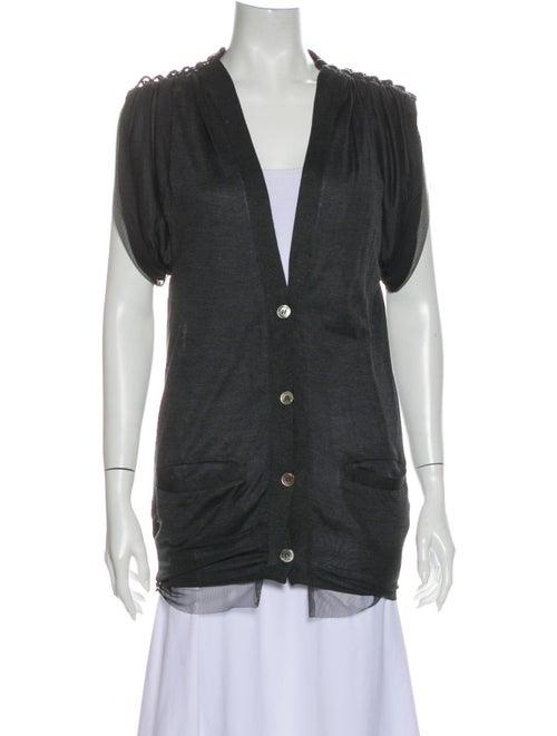 Sacai Silk V-Neck Button-Up Top Grey