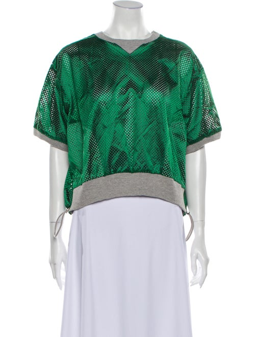 Sacai Crew Neck Short Sleeve Sweatshirt Green