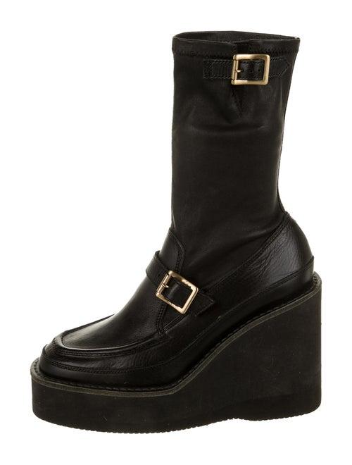 Sacai Platform Leather Boots Black