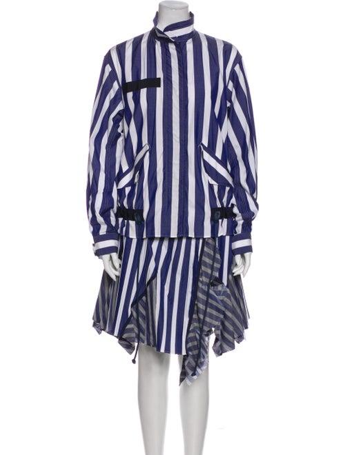 Sacai Striped Coat Blue
