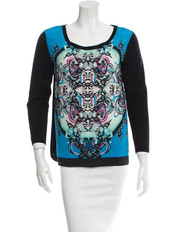 Sandro Printed Silk Top None