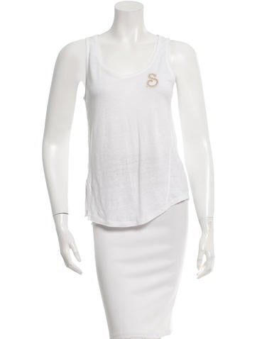 Sandro Embroidered Sleeveless Top None