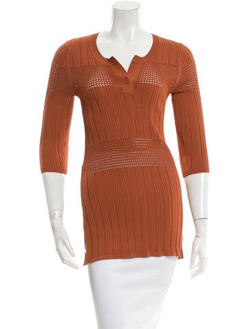 Sandro Rib Knit Scoop Neck Top None