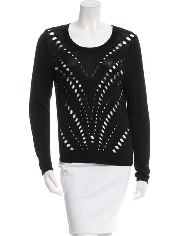 Sandro Long Sleeve Rib Knit Top None