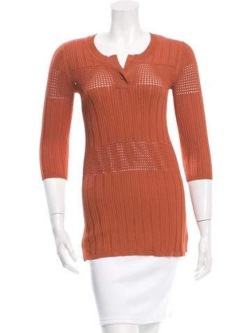 Sandro Rib Knit Three-Quarter Sleeve Top None
