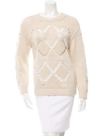 Sandro Open Knit Long Sleeve  Sweater None