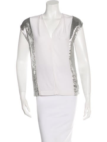 Sandro Silk Metallic Top None
