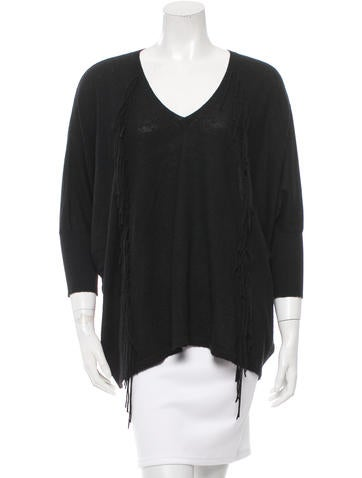 Sandro Fringe V-Neck Sweater None