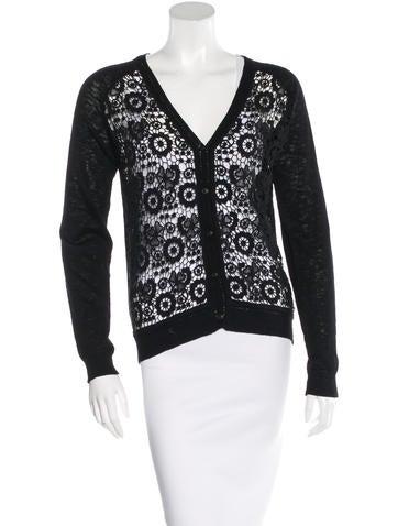 Sandro Crochet Knit Cardigan None