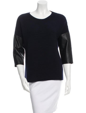 Sandro Leather-Trimmed Wool-Blend Top None