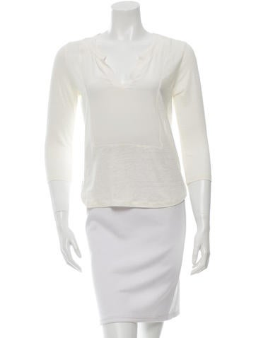 Sandro Linen Three-Quarter Sleeve Top None