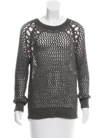 Sandro Open Knit Crew Neck Sweater None