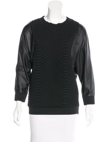 Sandro Jacquard Leather-Paneled Top None