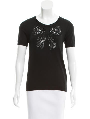 Sandro Lace-Accented Wool Top None