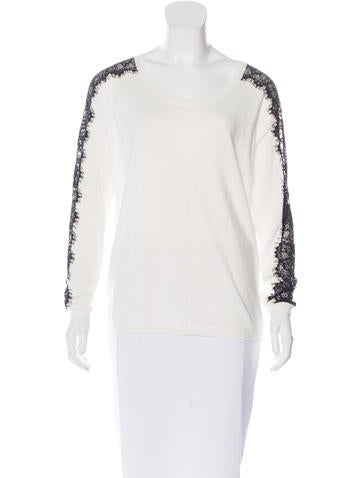 Sandro Lace-Paneled Knit Sweater None