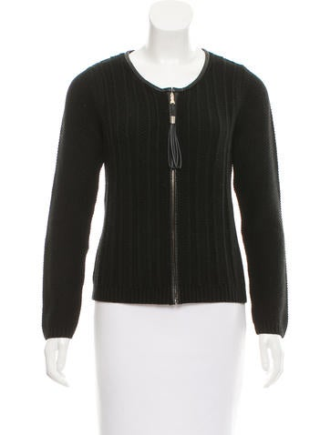 Sandro Leather-Trimmed Cardigan None
