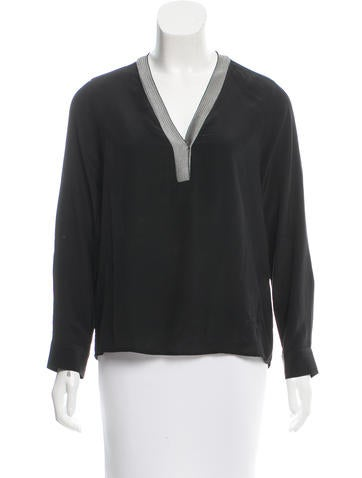 Sandro Silk V-Neck Blouse None